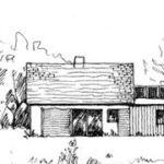Esquisse maison avec grande baie vitrée